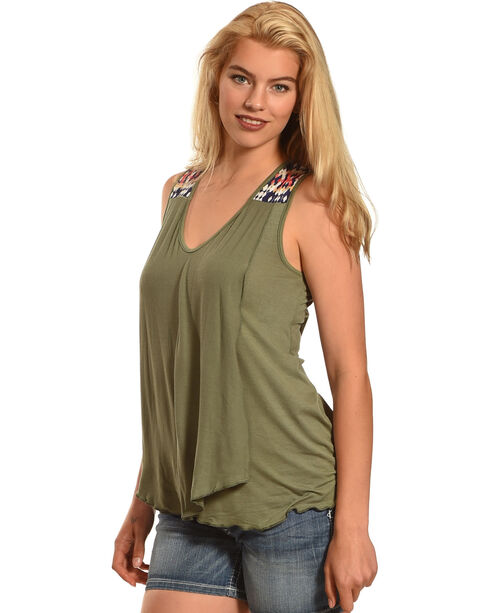 Allison Brittney Women's Sleeveless Double Layer Tank, Olive, hi-res