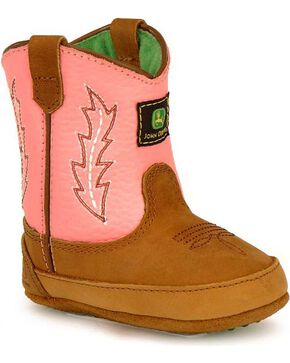 John Deere Infant Boy's Johnny Popper Western Crib Boots, Pink, hi-res