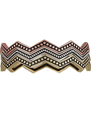 Wrangler Rock 47 Pins & Needles Tri-Color Triple Zig-Zag Bangle Bracelets, Silver, hi-res