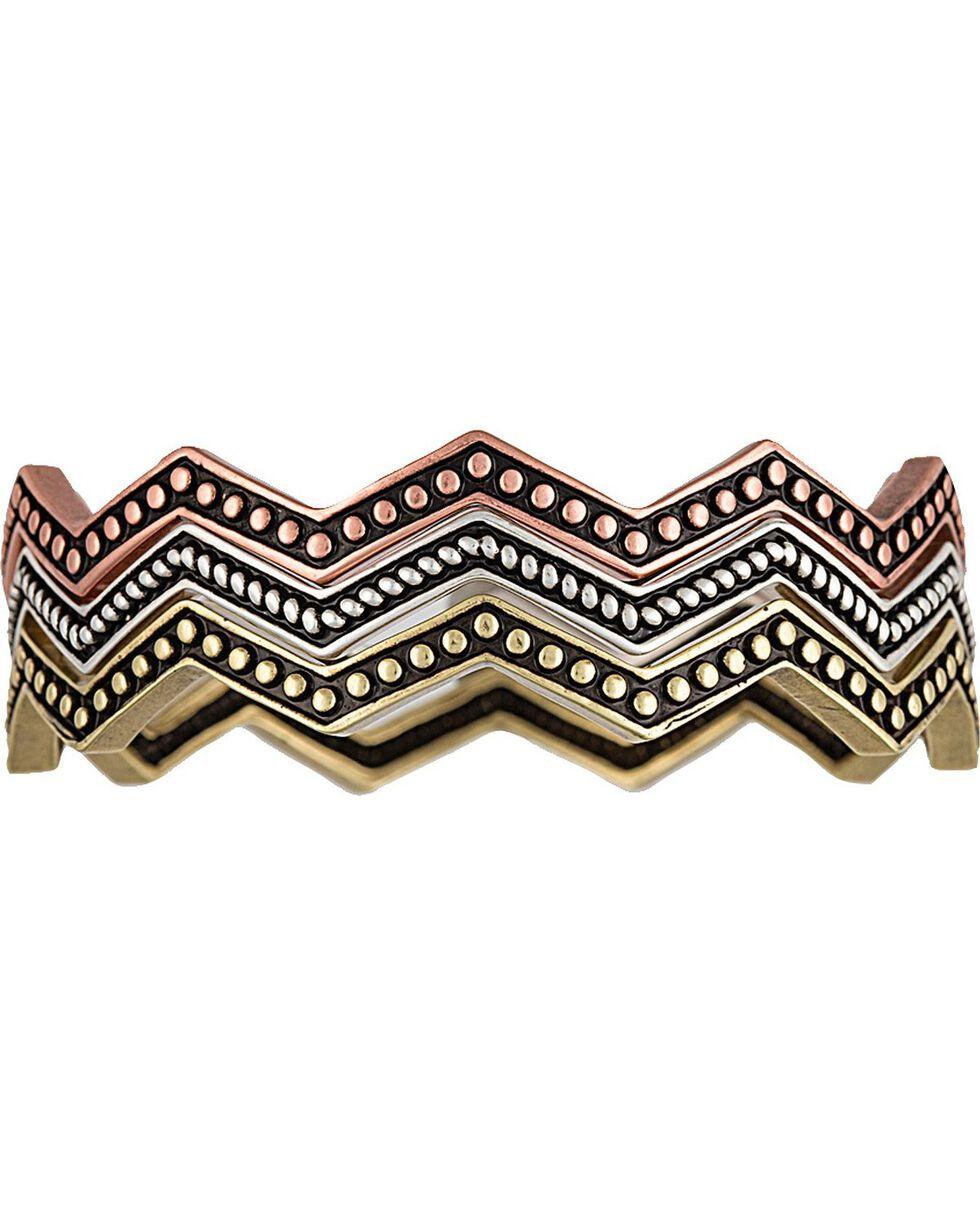 Wrangler Rock 47 Pins & Needles Tri-Color Triple Zig-Zag Bangle Bracelets, Silver, hi-res