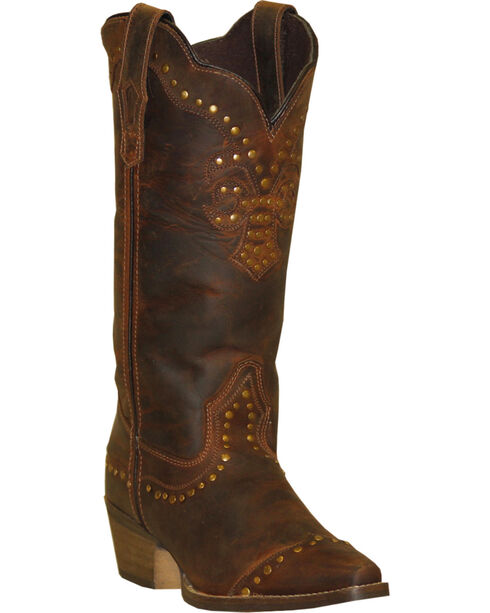 "Rawhide Women's 12"" Nailhead Western Boots, Brown, hi-res"