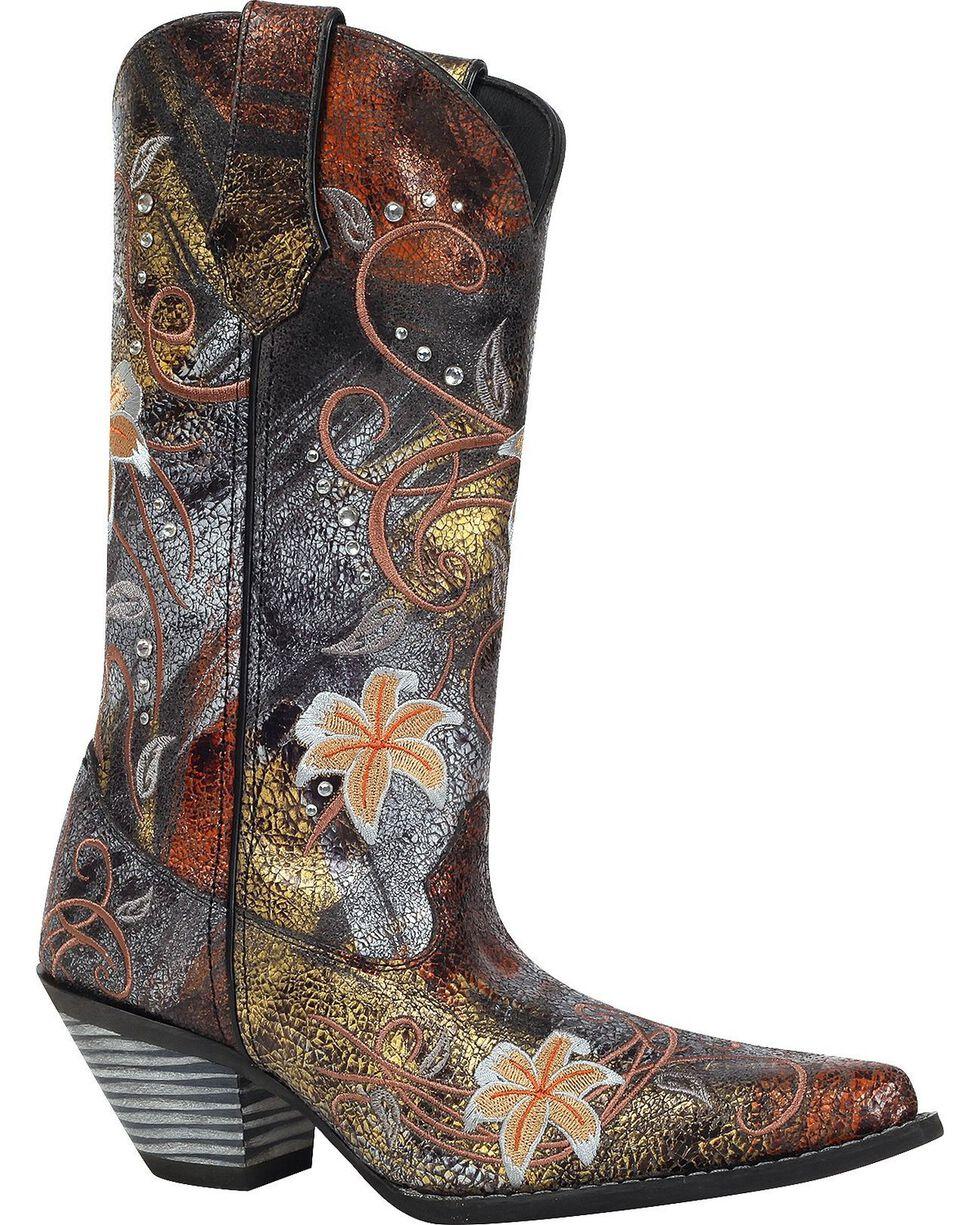 Durango Women's Floral Bouquet Western Boots, Black, hi-res