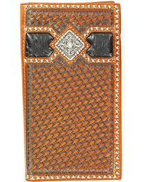 Ariat Men's Basket Weave Rodeo Wallet Checkbook Cover, , hi-res