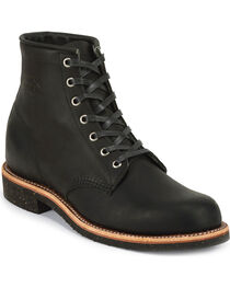 """Chippewa Men's Black Odessa 6"""" Lace-Up Service Boots - Round Toe, , hi-res"""
