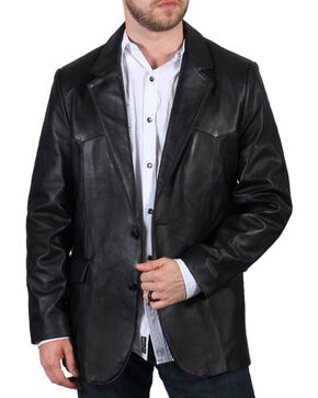 Cody James® Men's Lambskin Leather Blazer, Black, hi-res