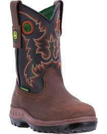 John Deere Boys' Waterproof Cowboy Boots - Round Toe , Black, hi-res