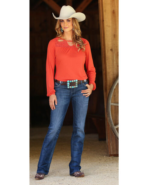 Wrangler Women's Lace Cutouts Long Sleeve Peasant Top, Rust Copper, hi-res