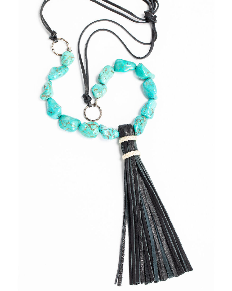 Jewelry Junkie Women's Turquoise Chunk Necklace with Wrapped Leather Tassel Black, Turquoise, hi-res