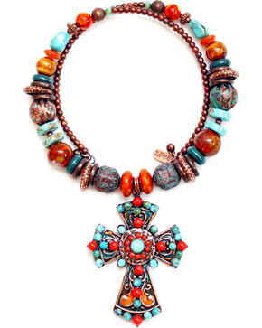 Treska Women's Santa Fe Beaded Pendant Coil Necklace , Multi, hi-res