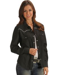Ely Solid Black with White Piping Western Shirt, , hi-res