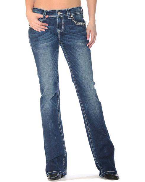 Grace in LA Women's Indigo Floral Bling Jeans - Boot Cut , Indigo, hi-res