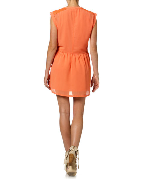 Miss Me Orange Button Down Sleeveless Dress , Orange, hi-res