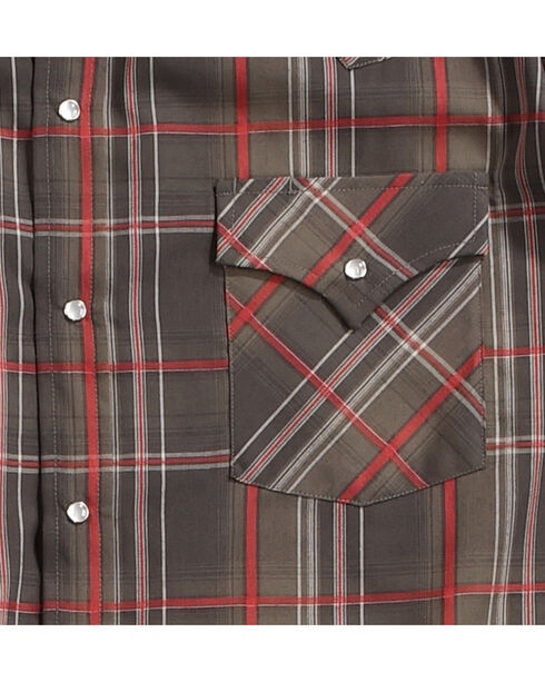 Ely Cattleman Men's Brown Textured Plaid Western Shirt , Brown, hi-res