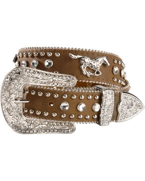 Nocona Girls' Rhinestone Horse Belt, Brown, hi-res