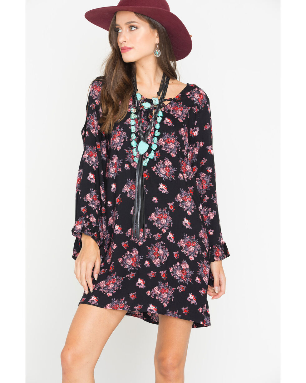 Rock & Roll Cowgirl Women's Black Floral A-Line Dress , Black, hi-res