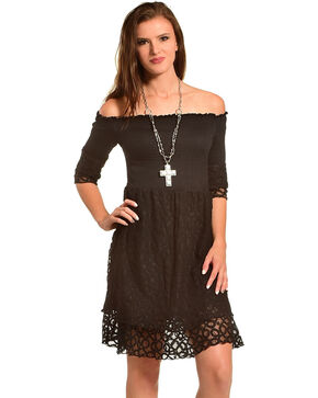Young Essence Women's Lace Off The Shoulder Dress, Black, hi-res