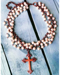 Jewelry Junkie Pearl and Copper Cross Choker, , hi-res