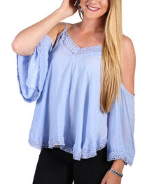 Onetheland Women's Chevron Cold Shoulder Top , Blue, hi-res
