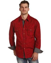 Rock & Roll Cowboy Men's Red Paisley Print Shirt , , hi-res