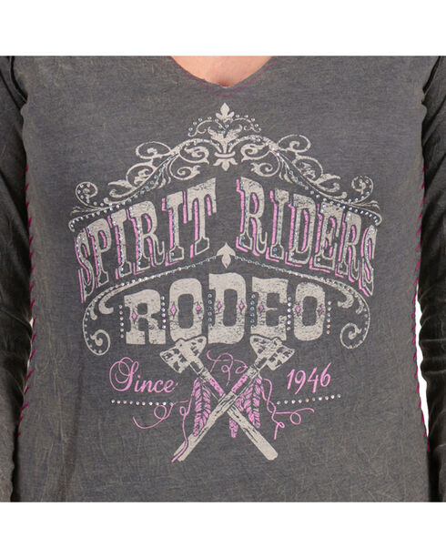 Panhandle Women's Spirit Riders Rodeo Long Sleeve Tee, Charcoal, hi-res