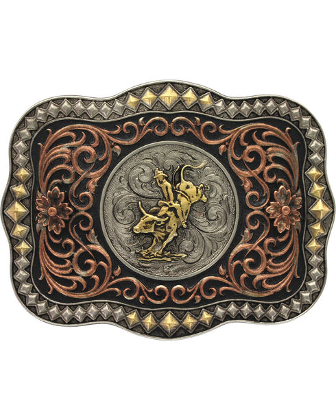 Montana Silversmiths Tri-Color Bull Rider Belt Buckle, Multi, hi-res