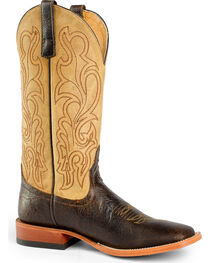 Horse Power Men's Brown/Tan Leather Cowboy Boots - Square Toe, , hi-res