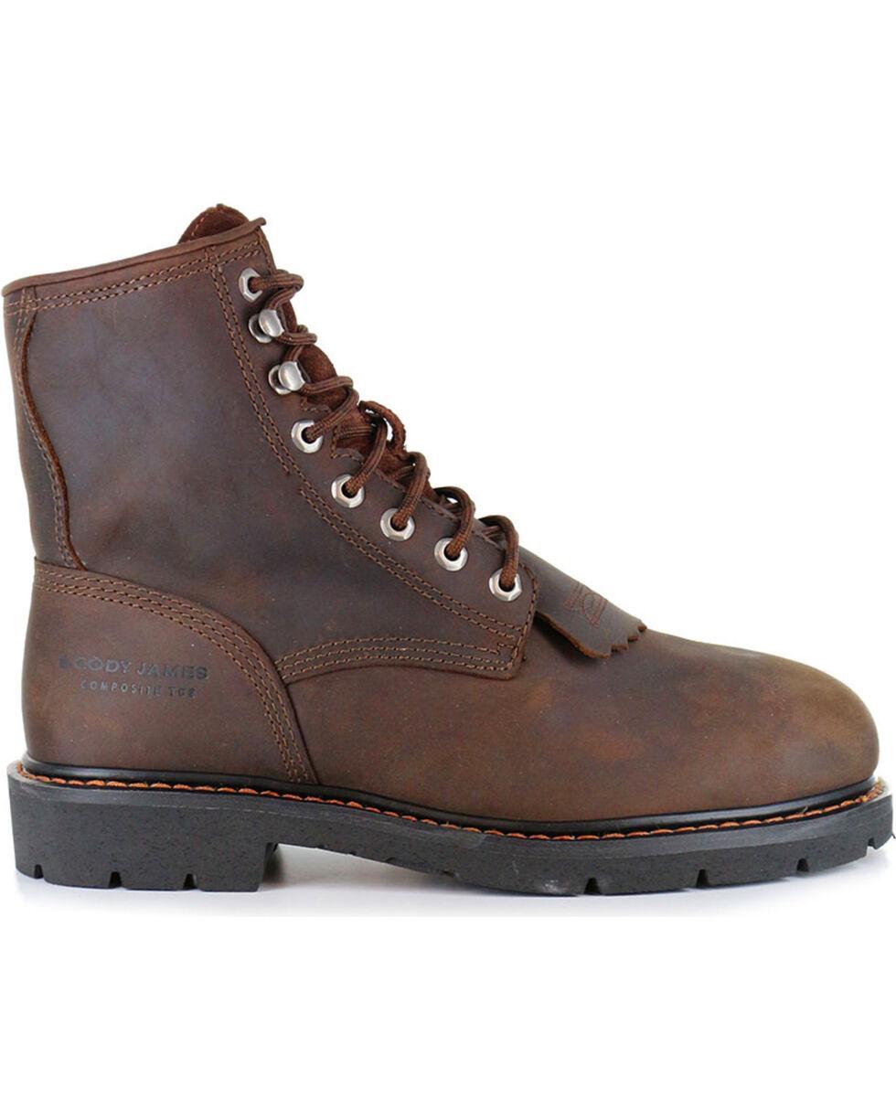 Cody James® Men's Lace-Up Round Composite Toe Kiltie Work Boots, Brown, hi-res