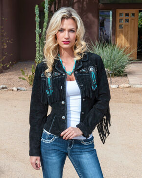 Scully Fringed Suede Leather Jacket, Black, hi-res