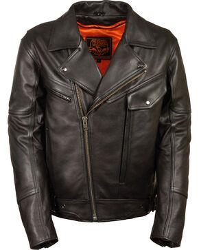 Milwaukee Leather Men's Side Set Belt Utility Pocket Motorcycle Jacket, Black, hi-res