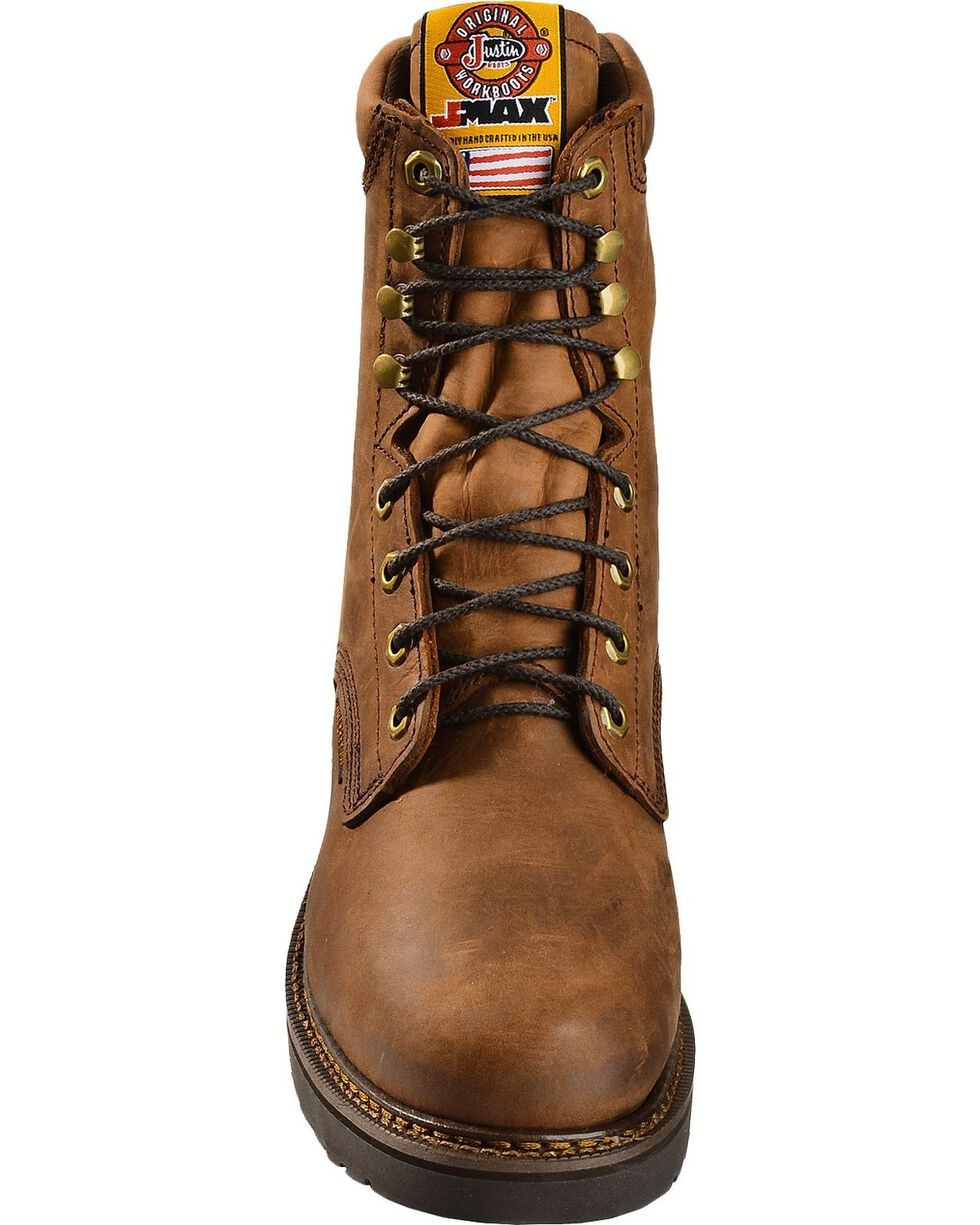 "Justin Men's Original 8"" Lace-Up Work Boots, Aged Bark, hi-res"