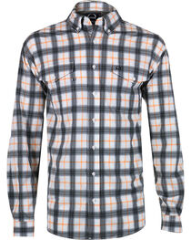 Cinch Men's Orange Plaid Double Pocket Shirt, , hi-res