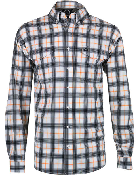 Cinch Men's Orange Plaid Double Pocket Shirt, White, hi-res
