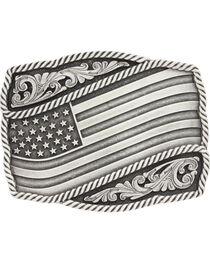 Montana Silversmiths Silver Waving American Flag Belt Buckle, , hi-res