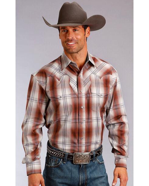 Stetson Men's Brick Western Plaid Shirt , Brown, hi-res