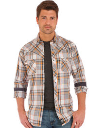 Wrangler Rock 47 Men's Plaid Two Pocket Long Sleeve Snap Shirt, , hi-res
