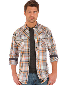 Wrangler Rock 47 Men's Plaid Two Pocket Long Sleeve Snap Shirt, Grey, hi-res