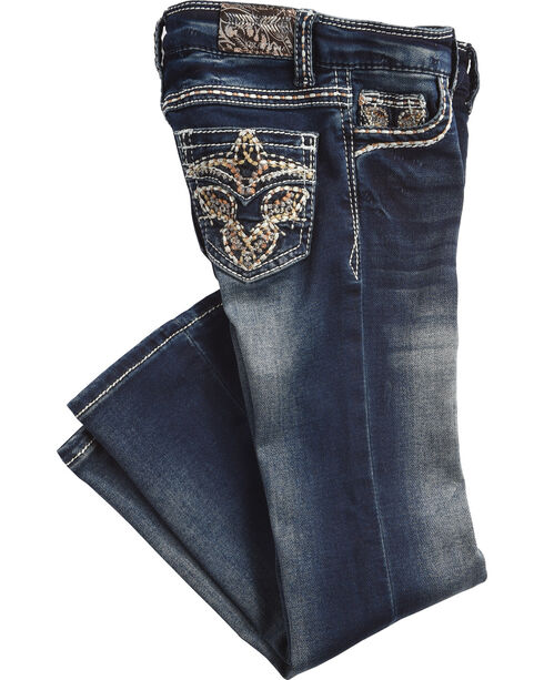Grace in LA Girls' (4-6X) Charley Tinnies Jeans - Boot Cut , Indigo, hi-res