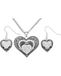 Montana Silversmith Heart Necklace and Earring Set, , hi-res
