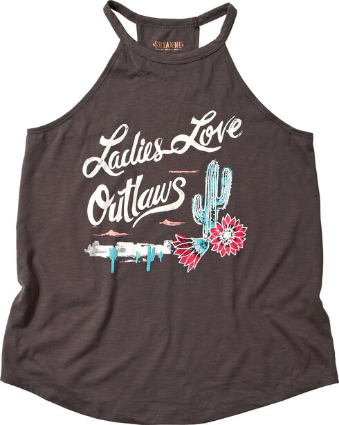 "Shyanne® Women's ""Ladies Love Outlaws"" Halter Top, Charcoal, hi-res"