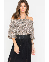 Shyanne® Women's Leopard Off The Shoulder Top, , hi-res