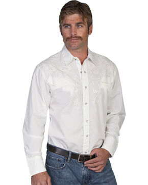 Scully Tonal Scroll Embroidered Yokes Western Shirt, White, hi-res
