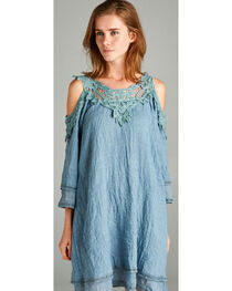 Hyku Women's Crocheted Trim Cold Shoulder Mini Dress, , hi-res