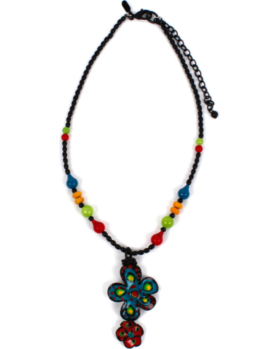 Treska Women's Small Beaded Y Necklace, Black, hi-res
