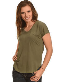 Derek Heart Women's Single Pocket Hi/Low Shirttail Hem Tee, , hi-res