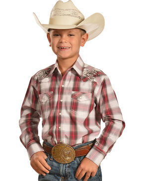 Crazy Cowboy Boys' Red Plaid Embroidered Western Snap Shirt , Red, hi-res