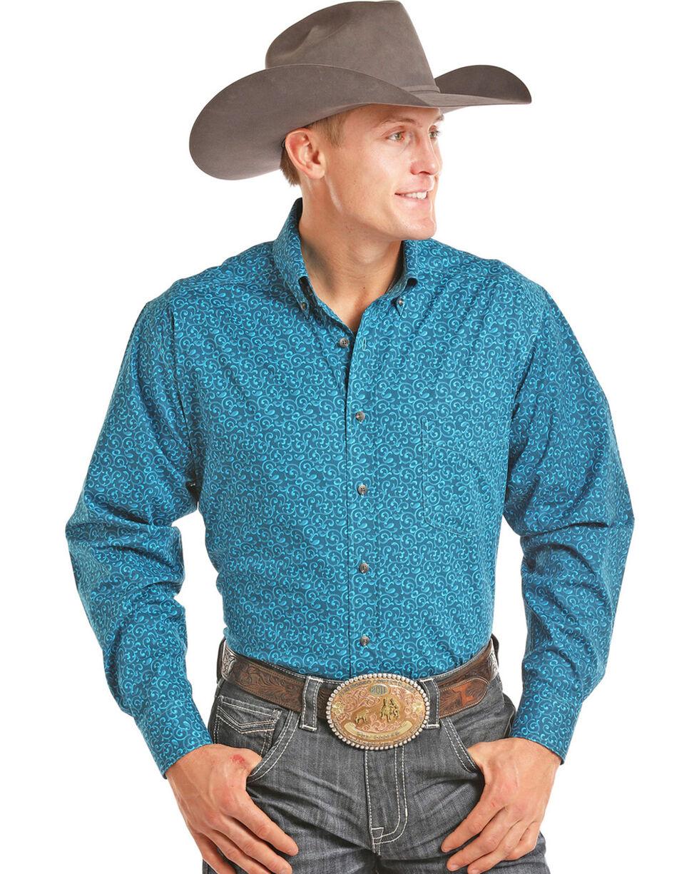 Tuf Cooper Performance Men's Turquoise Printed Shirt , Turquoise, hi-res