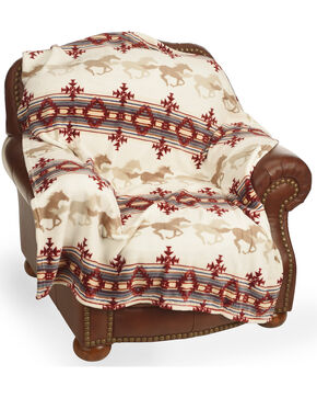 BB Ranch Aztec Running Horses Blanket, Multi, hi-res