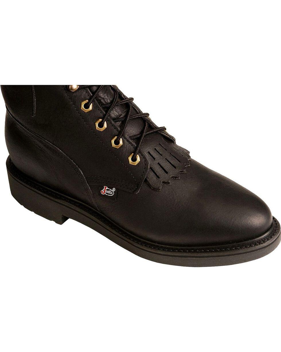 "Justin Men's 8"" Lace Up Steel Toe Work Boots, Black, hi-res"