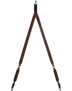 3D Basketweave Buffalo Concho Suspenders - Large, Tan, hi-res