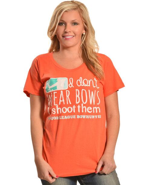 """Browning Women's Orange """"I Don't Wear Bows"""" T-Shirt , Orange, hi-res"""